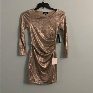Metallic gold long sleeve dress
